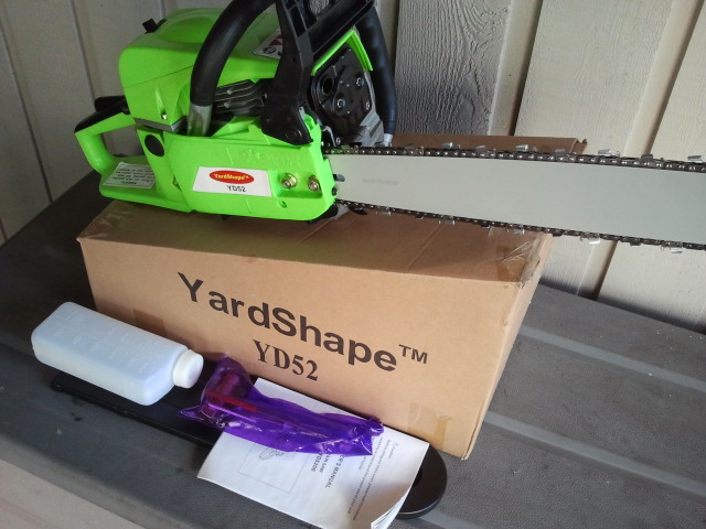 "YardShape Gas Chainsaw 52cc with 20"" Bar"